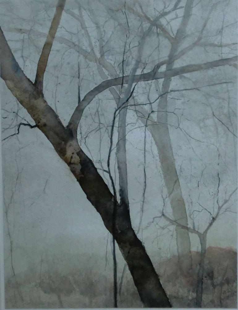 """Bäume im Nebel"" (4) Aquarell 40x30cm"