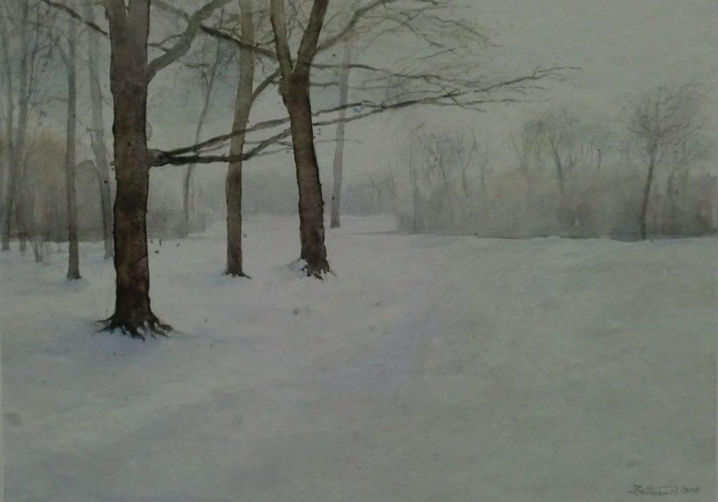 """Winter im Englischen Garten"" Aquarell 30x43cm"