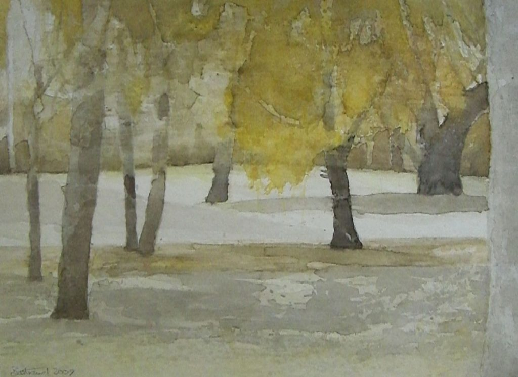 """Herbst im Englischen Garten"" (3) Aquarell 30x40cm"