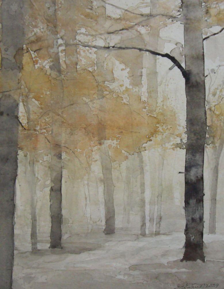 """Herbst im Englischen Garten (4) Aquarell 38x30cm"