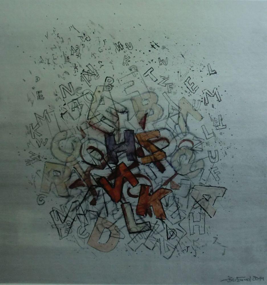 """Lettern"" (1) Aquarell 38x36cm"