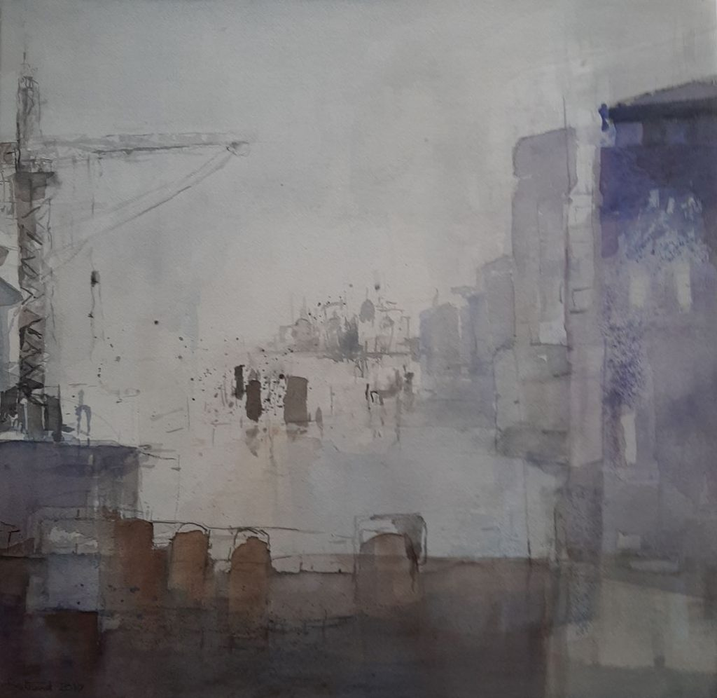 """Am Hafen"" Aquarell 56x58cm"
