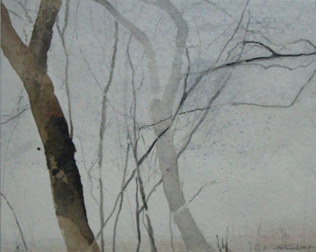 """Bäume im Nebel"" (1) Aquarell 26x32cm"