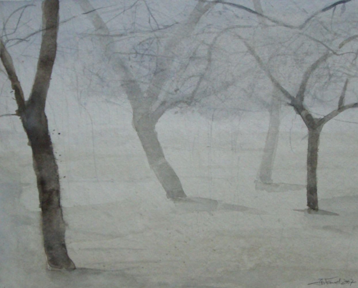 """Bäume im Nebel"" (2) Aquarell 26x32cm"